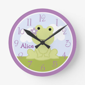 Personalized Cute Girl Frog Kids Clock