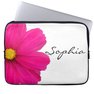 personalized cute girly pink flower laptop sleeve