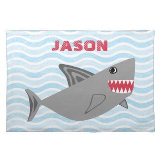 Personalized Cute Gray Shark Blue Waves Placemat