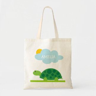 Personalized cute green turtle kids tote bag