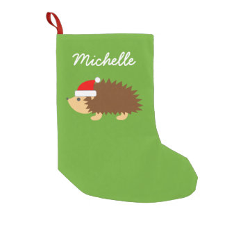 Personalized cute hedgehog santa hat kids Holiday Small Christmas Stocking