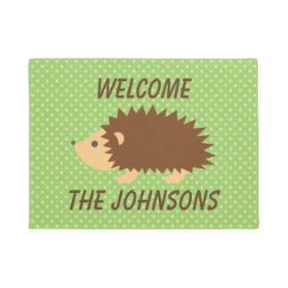 Personalized cute hedgehog welcome door mat