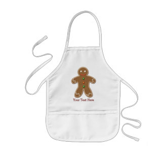 Personalized Cute Holiday Gingerbread Man Kids Apron