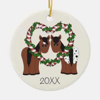Personalized Cute Horses First Christmas Together Ceramic Ornament