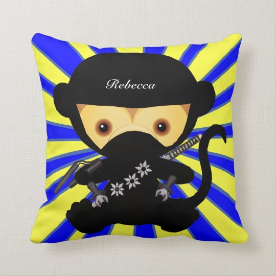 Personalized Cute kawaii ninja monkey Throw Pillow