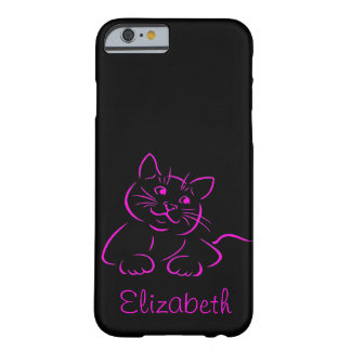 Personalized Cute Kitty Cat Illustration Barely There iPhone 6 Case