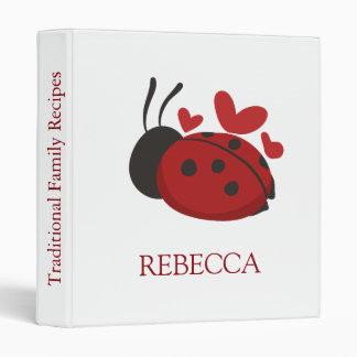 personalized cute ladybug 3 ring binders