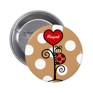 Personalized Cute LadyBug drawing 2 Inch Round Button