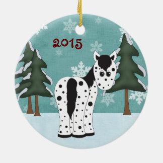 Personalized Cute Leopard Appaloosa Horse Snowy Ceramic Ornament