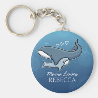 Personalized Cute Mom Baby Whale, Add Kids Name Basic Round Button Keychain