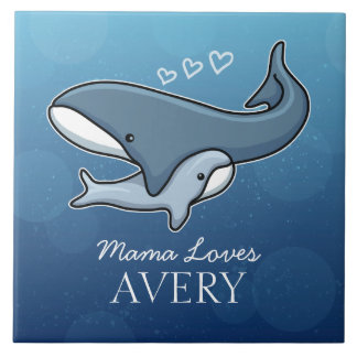 Personalized Cute Mom Baby Whale, Add Kids Name Tile