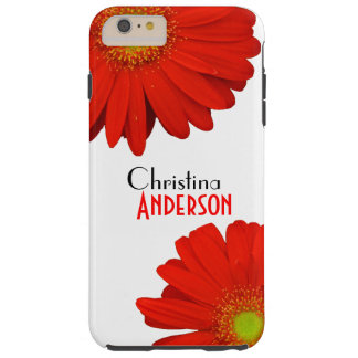Personalized Cute Orange Gerbera Flowers Tough iPhone 6 Plus Case