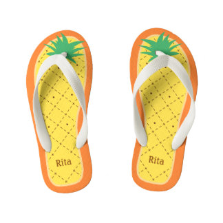 Personalized Cute Pineapple Funny Tropical Fruit Kid's Flip Flops