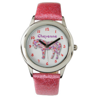 Personalized Cute Pink and Purple Heart Horse Pony Watches