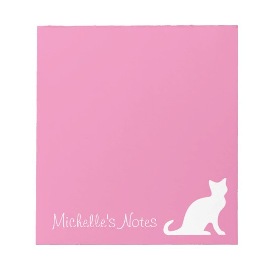 Personalized cute pink and white cat writing memo notepad