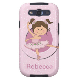 Personalized Cute Pink Ballerina 1 Samsung Galaxy S3 Cover