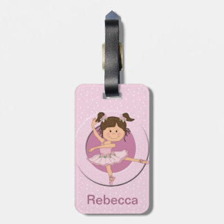 Personalized Cute Pink Ballerina Bag Tag