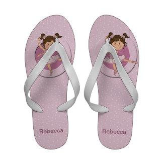 Personalized Cute Pink Ballerina Flip Flops