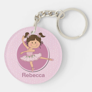 Personalized Cute Pink Ballerina Double-Sided Round Acrylic Keychain