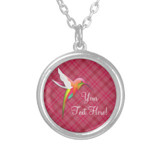 Personalized Cute Pink Hummingbird Necklace