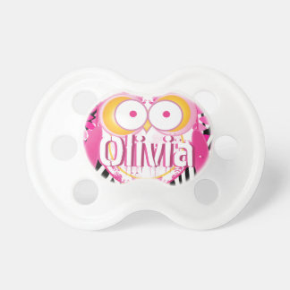 Personalized Cute Pink Modern Girl Owl Pacifier