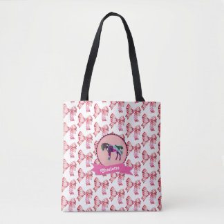 Personalized Cute Pink Modern Pony Tote Bag