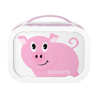 Personalized Cute Pink Pig Girls Lunchbox