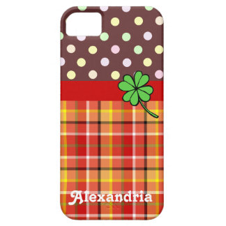 Personalized Cute Polka Dots & Four-leaf Clover iPhone 5 Cover