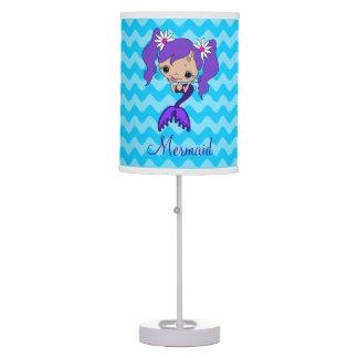 Personalized Cute Purple Mermaid Table Lamp