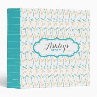 Personalized Cute Recipe Aqua and Yellow Pattern 3 Ring Binders