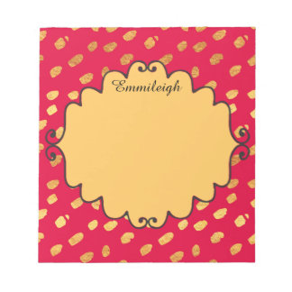 Personalized Cute Red and Gold Confetti Notepad