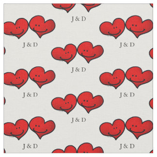 personalized cute red hearts wedding couple fabric
