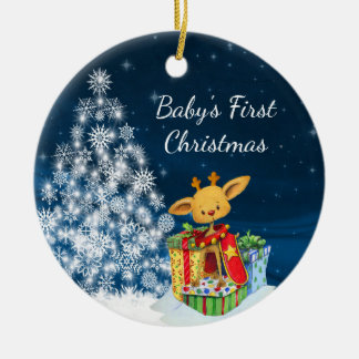 Personalized Cute Reindeer Baby's First Christmas Round Ceramic Ornament