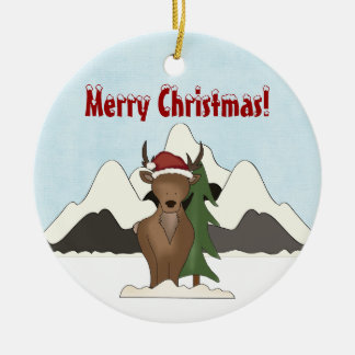 Personalized Cute Santa Deer Mountain Ornament