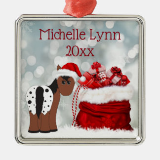 Personalized Cute Santa Horse and Gifts Christmas Metal Ornament