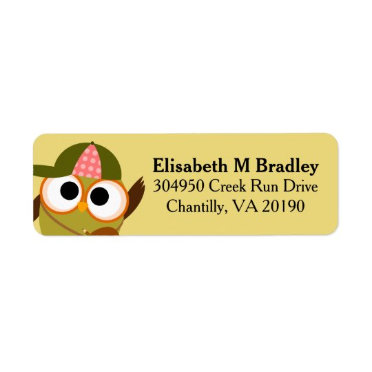 Personalized Cute School Owl Student Return Address Label