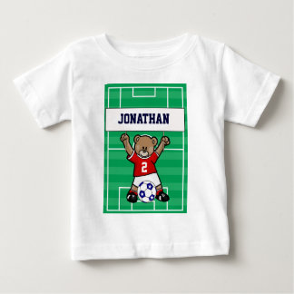 Personalized Cute Soccer Teddy Bear (red) Baby T-Shirt
