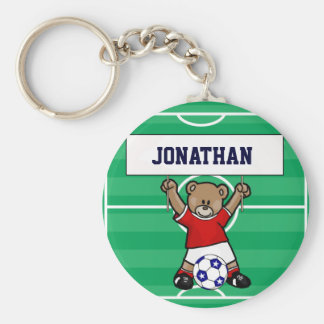 Personalized Cute Soccer Teddy Bear (red) Basic Round Button Keychain