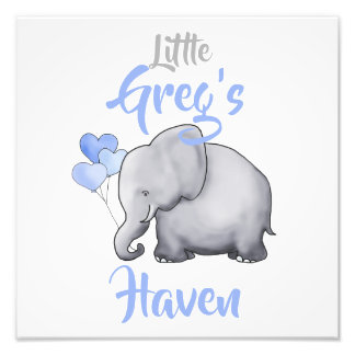 Personalized Cute Sweet Elephant Nursery Decor Photo Print
