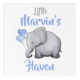 Personalized Cute Sweet Elephant Nursery Haven Acrylic Print