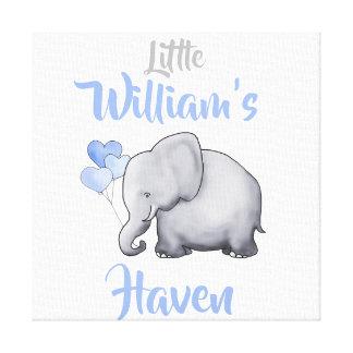 Personalized Cute Sweet Elephant Nursery Haven Canvas Print