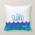 Personalized Cute Swim Pillow With Waves