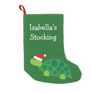 Personalized cute turtle in santa hat kids Holiday Small Christmas Stocking
