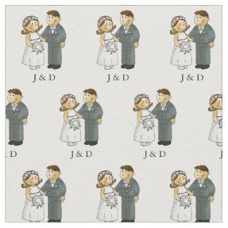 personalized cute wedding couple bride & groom fabric