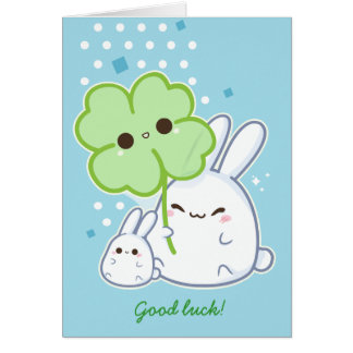 Personalized - Cute white bunny with kawaii clover Card