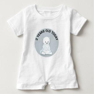 Personalized Cute White Polar Bear Birthday Baby Romper
