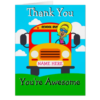 PERSONALIZED Cute Woman Bus Driver Thank You Card