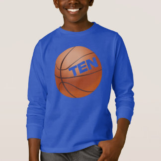 PERSONALIZED Cutout TEN BASKETBALL Birthday Tee