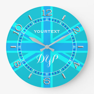 Personalized Cyan Union Jack British Flag Dial Large Clock