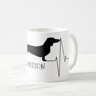 Personalized Dachshund Love My Dog Heart Beat Coffee Mug